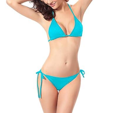 9b05d1fbb45 Amazon.com: Women Bandage Sexy Ultra-Thin Bikini Set Pure Color Plus Size(S-XL)  Elastic Bra Lightweight Breathable Swimsuit Bathing Suit: Clothing