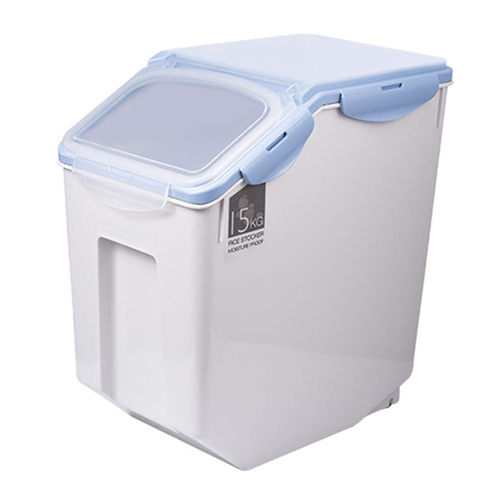bluee M bluee M Jlxl Pet Food Container,10L Dry Storage Dog Cat Grain Bin Seal Bucket Moisture Insect Control For High Capacity Barrel (color   bluee, Size   M)