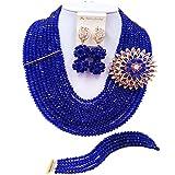 aczuv 10 Rows Classic Crystal Bridal Jewelry Sets Nigerian Wedding African Beads Jewelry Set