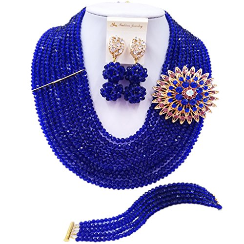 Pearl Brooch Costume Jewelry (laanc 10 Rows Fashion Costume African Beads Jewelry Set Nigerian Wedding Bridal Jewelry Sets for Women (Royal Blue))