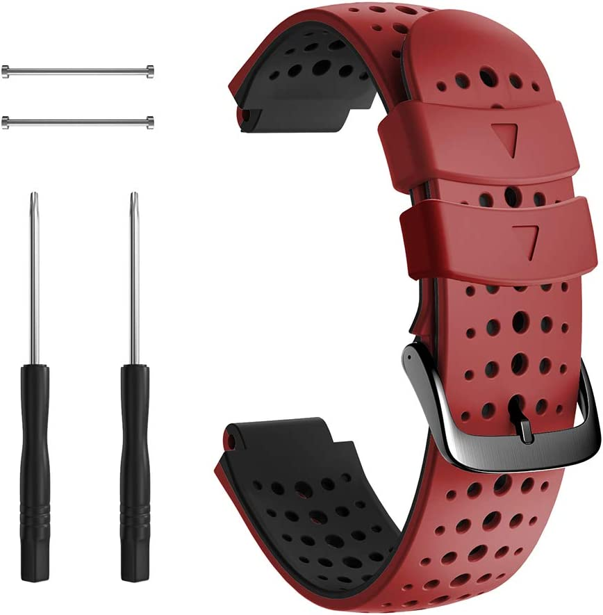 NotoCity Compatible with Foerunner 235 Watch Band Sport Silicone Watch Band for Forerunner 230/220/ 235/620/ 630/ 735XT Smartwatch(Black-red)