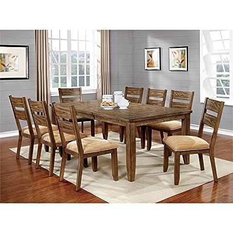 Furniture of America Natting 9 Piece Extendable Dining Set in Oak - Extendable Dining Table Set