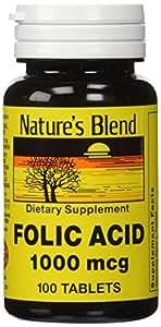Natures Blend Folic Acid 1000 mcg 1,000 mcg 100 Tabs