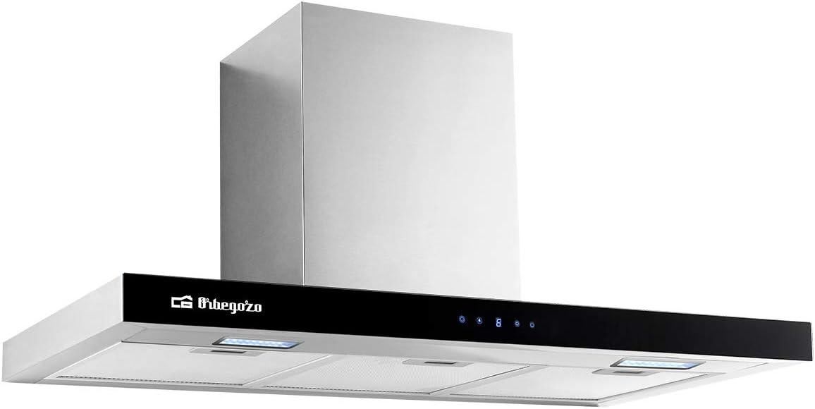 Orbegozo DS 62190 IN - Campana extractora decorativa 90 cm, Clase A, extracción 609,7 m3/h, 3 niveles de potencia, motor de 230 W de potencia, iluminación LED: Amazon.es: Hogar