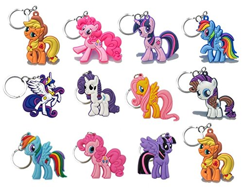 (12 Pieces Little Pony PVC Party Set Key Chains for Boys and Girls Birthday Themes)