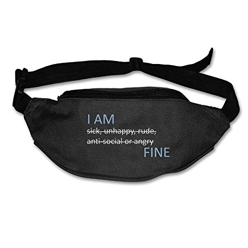Janeither Unisex Pockets I Am Fine Word Fanny Pack Waist/Bum Bag Adjustable Belt Bags Running Cycling Fishing Sport Waist Bags Black by Janeither (Image #3)