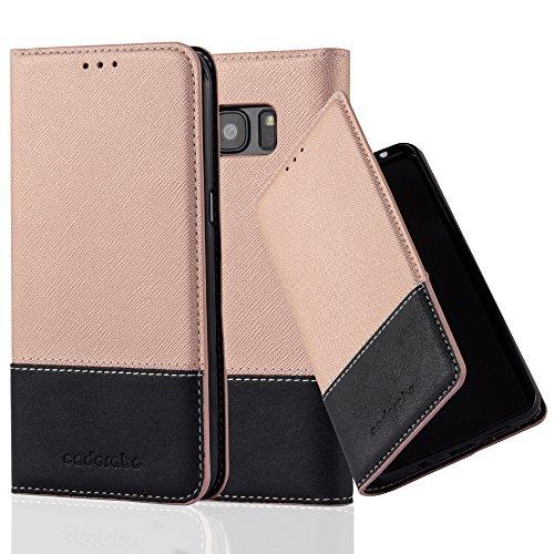 Cadorabo - Funda Estilo Book para Samsung Galaxy S7 EDGE de Diseño gamuza-Artificial / Cuero-Artificial con Tarjetero, Función de Soporte y Cierre Magnético Invisible - Etui Case Cover Carcasa Caja Pr ROSA-ORO-NEGRO