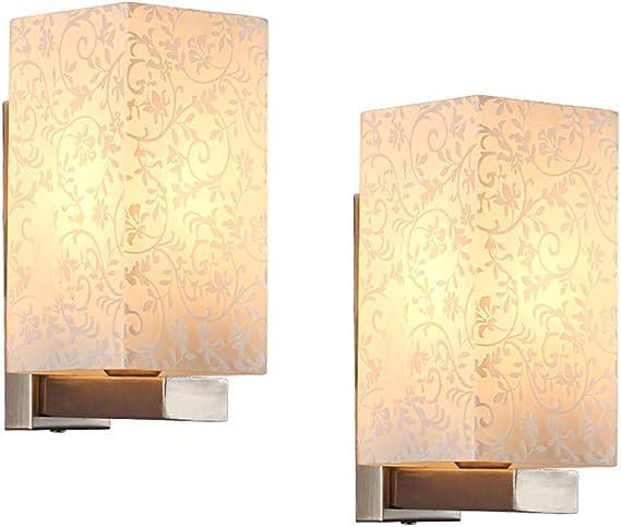 Aplique Moderno Aplique de Interior Iluminación de La Pared Para Interiores, Rectángulo Sombra de Vidrio Lámpara de Pared Pasillo Pasillo Accesorios de Pared Cableado Conjunto de 2 B Conjunto de 2 E27: