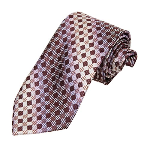 Brown Plum - DAA7C02C Brown Plum Checkered Microfiber Neck Tie Absolutely In Bulking Neck Tie By Dan Smith