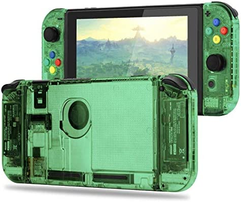 BASSTOP [Update Version] DIY Replacement Housing Shell Case Set for Switch NS NX Console and Right Left Switch Joy-Con Controller Without Electronics (Set-Jungle Green)