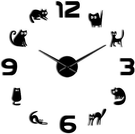 CHANGWW-Gatitos sin Marco 3D DIY Reloj de Pared Mudo Cuarzo acrílico Espejo Efecto Pegatina Reloj Reloj Moda decoración del hogar Gato Amante Regalo: Amazon.es: Hogar