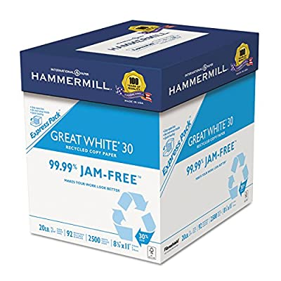 HammerMill 67780 Great White Recycled Copy Paper, 92 Brightness, 20lb, 8-1/2 x 11, 2500 Shts/Ctn