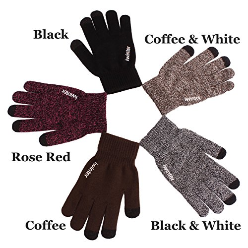 Touchscreen Knit Gloves for Women Men-Wool Lined