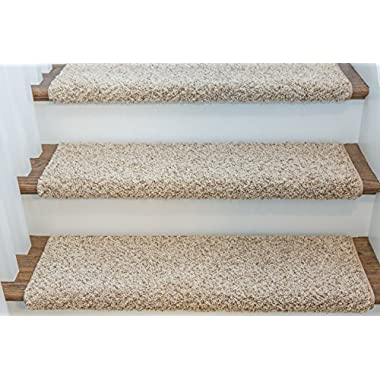 WINDSOR Adhesive Bullnose Carpet Stair Tread - 27  W - Caramel - by Castle Range