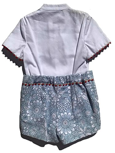 Colibri Azul Boys Beautiful Blue, White and Red Floral Print Matching Shirt and Shorts Set by Colibri Azul (Image #1)