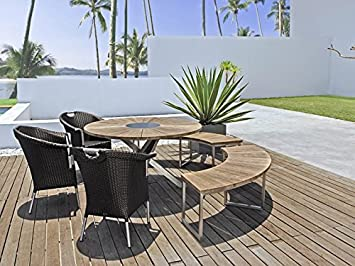 Zebra PENELOPE c salon de jardin 6 pièces avec table en teck ...