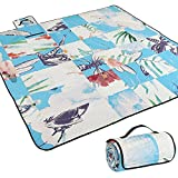 AMMSUN Extra Large Picnic & Beach Blanket Handy Mat Plus Thick Dual Layers Sandproof Waterproof Padding Portable for The Family, Friends, Kids (Multicolor, 80'' x 80'')