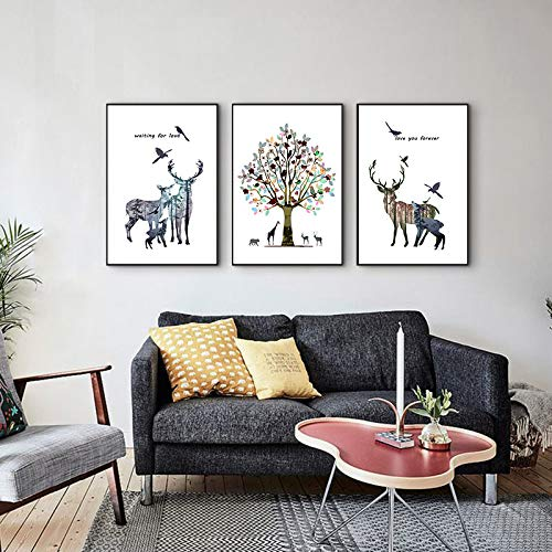 (Large 16 X 24 Inch Self-Adhesive Canvas Print 3 Pieces Set Nordic Picture Moose Tree Lanscape Wall Art Decor Artwork Poster for Home Living Room Bedroom Decoration Unframed)
