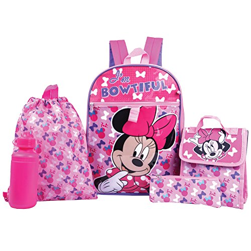 Minnie Mouse Backpack Combo Set - Disney Minnie Mouse 5 Piece Backpack School (Best Disney High School Back Packs)
