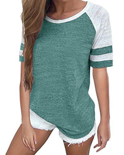 Pink T-shirt Womens Out - YOTGAP Women's Baseball Tees Shirts Short Sleeve Color Block Loose Tunics Blouses Tops Green 1 XL