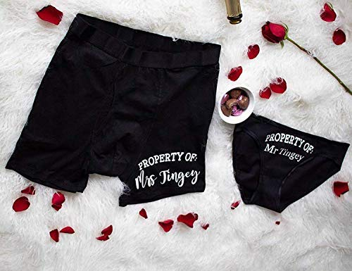 Property Of Underwear, Personalized Couples Underwear, Black Boxer Briefs and Bikinis, Set of -