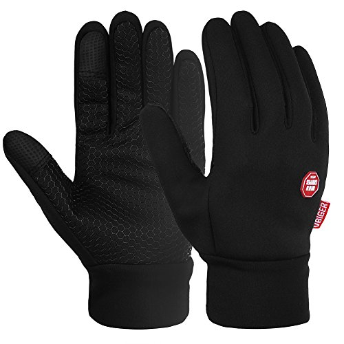 Vbiger Men Winter Warm Gloves Windproof Anti-slip Touch Screen Gloves Cold Weather Gloves Liner (XL) Black