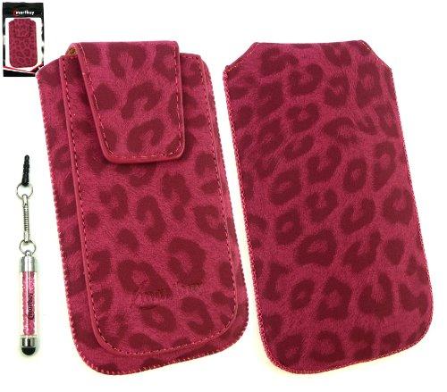 Emartbuy ® Sparkling Stylus / Eingabestift Pack Für Apple Iphone 5c Classic Range Faux Suede Leopard Rosa Slide In Pouch / Case / Sleeve / Halter (Größe Xl) Mit Magnetic Flap & Pull Tab Mechanism + Sp