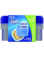 Ziploc Food Storage Meal Prep Containers with Smart Snap Technology, Reusable for Kitchen Organization, Dishwasher Safe, Square, 4 Count
