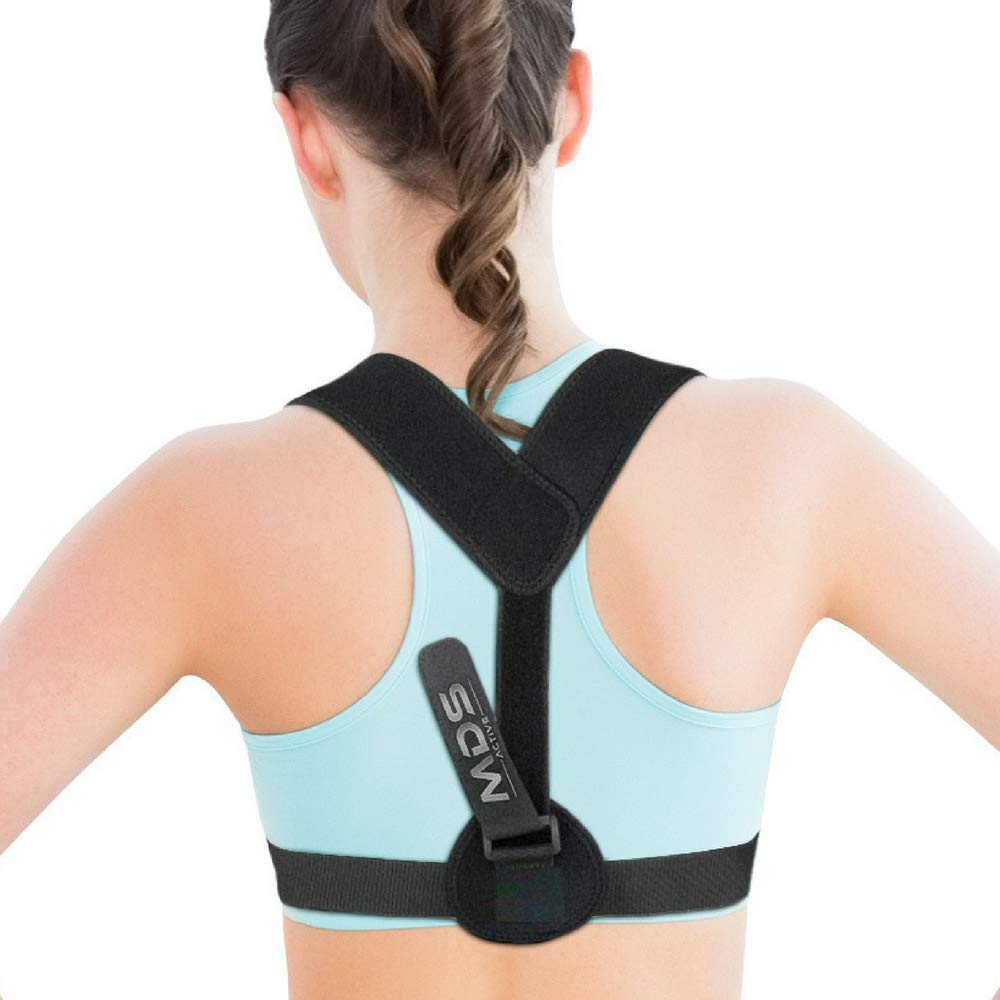 Posture Corrector by MDS Active - Back Pain Relief Brace Support for Women and Men - Adjustable Straps Device Helps Avoid Shoulder Hunching for Kids - Comfortable Treatment for Kyphosis and Scoliosis