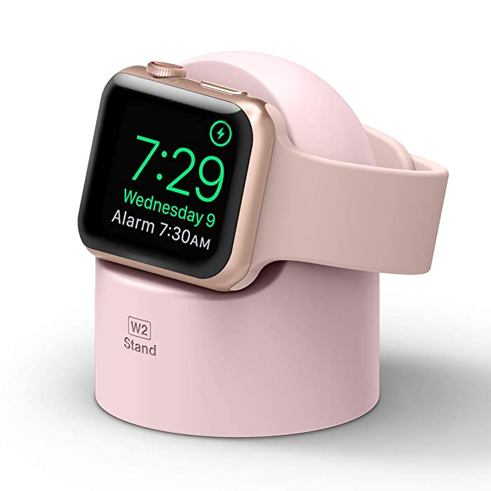 elago W2 Stand (Lovely Pink) for Apple Watch Series 5, Series 4, Series 3, 2, 1 / 44mm, 42mm, 40mm, 38mm - Supports Nightstand Mode, Cable Management, Scratch-Free Silicone