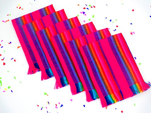 Mexican Napkins, Bright Pink Striped Napkins, Cloth Napkins Bulk Set of 6 Mexican Decorations, Woven Napkins, Boho Chic Linens, Hippie Decor, Tribal Kitchen, Gift for Her, NAP004 by MexFabricSupplies