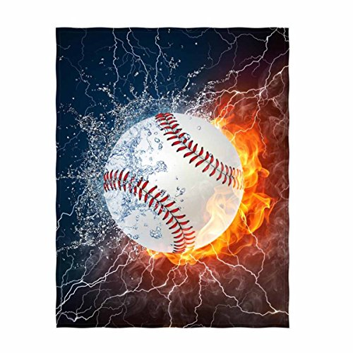 QH Baseball Print Throw Blanket Comfort Design Home Decoration Lightweight Blanket Perfect for Couch Sofa or Travelling 58