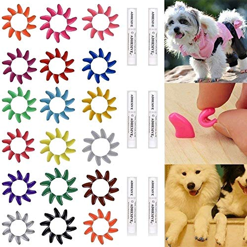 Smarthing 120Pcs(12Color) Dog Claw Caps Soft Rubber Pet Paws Nail Grooming Cover + 6 Adhesive Glue(L)