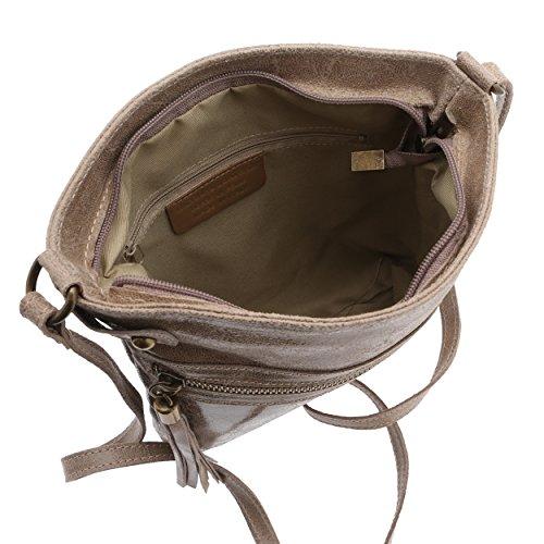 Chicca Borse - Damen Umhängetasche aus echtem Leder Made in Italy - 25 x 24 x 5 Cm Schlamm 6r1Py