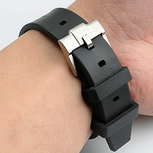 20mm Rubber Watchband Strap w/Tang Buckle Fit for Rolex GMT Yatch Master 16622 Watches (20 mm, Black)