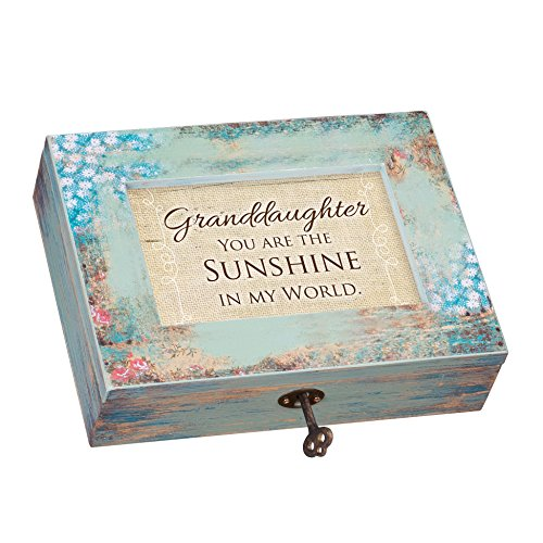 Granddaughter Sunshine My World Distressed Wood Jewelry Music Box Plays Tune You are my Sunshine