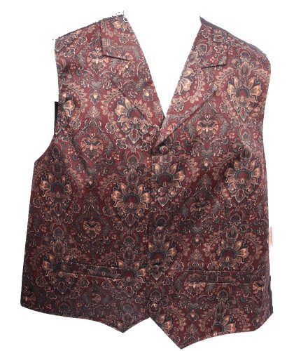 Men's Burgundy Print Vest by Scully - Medium (Scully Costume)