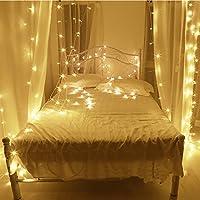 10M LED cordes Guirlande lumineuse 100LED imperméable blanc chaud romantiques avoirs actuels Transparent plug UE pour R Chambres lit Fête de Noël Mariage Chambre 220V-8 Type-extensible (couleur blanc
