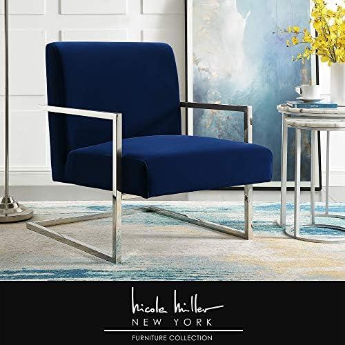 Chester Navy/Chrome Velvet Accent Chair