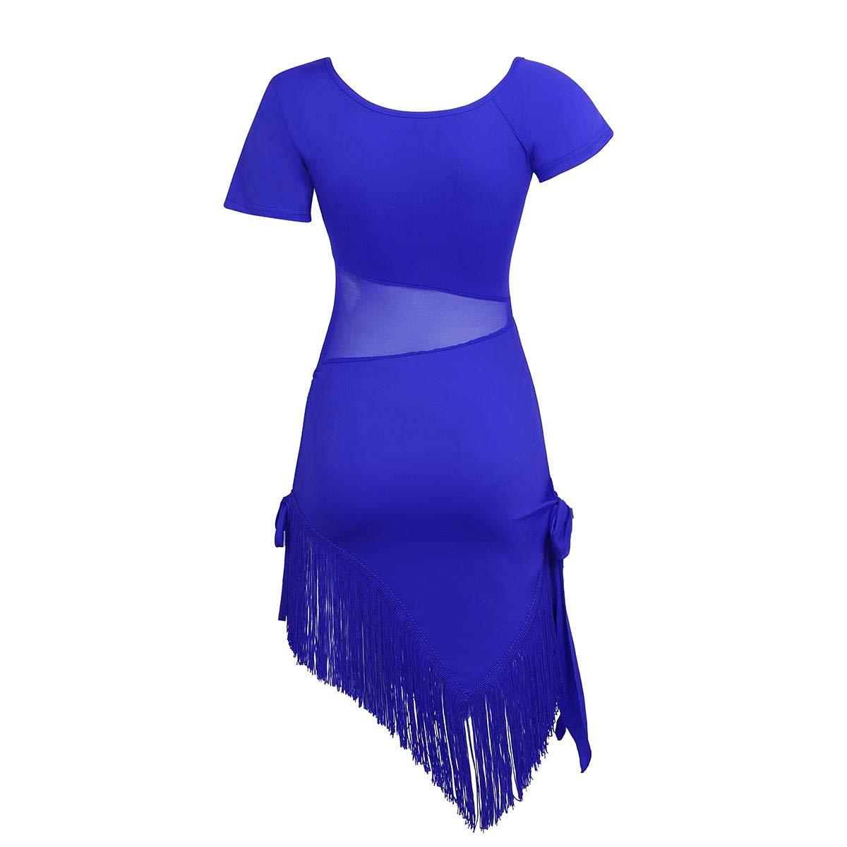 iEFiEL Women Mesh Splice Fringe Tassel Dress Recital Salsa Latin Tango Dance Stage Performance Costumes