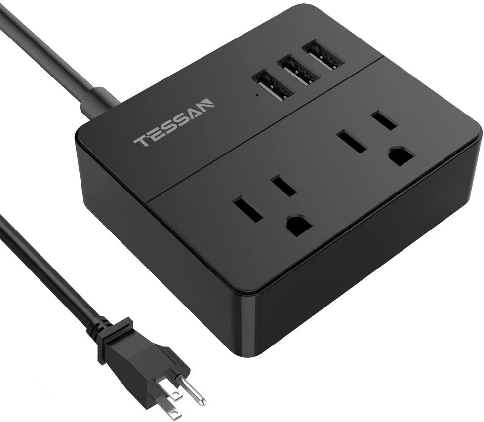 TESSAN Portable 2 Outlet Travel Mini Power Strip with 3 USB Ports Desktop Charging Station 5 Ft Extension Cord Multi Outlets Extender Plug for Cruise ship-BLACK