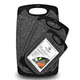 PIPANDA - Original Reversible Plastic Cutting Board for Kitchen (3 Piece Set) BPA Free, Exclusive Marble Grain Design, Easy - Grip Handle, Juicy Grooves, Dishwasher Safe, Non-Porous, Multiple Size