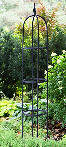Garden Tower Obelisk 8 Feet Tall Iron Black Giant Trellis for Climbing Vines & Plants