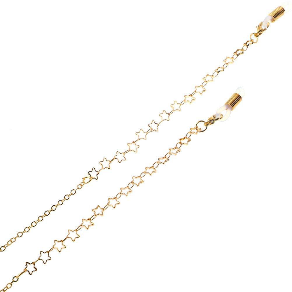 78cm Suneast Metal Star Glasses Chain Holder Anti-slip Eyeglass Strap//Sunglass Cord//Spectacle Neck String//Eyewear Lanyard Retainer for Women and Men Gold