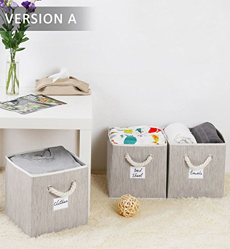 e Basket Cubes with Strong Cotton Rope Handle,Sturdy Stackable Storage Cube Box Bins With 25lbs By, Gray, Bamboo Style, Medium 5 gal, 3-Pack (Strong Rope Handle)
