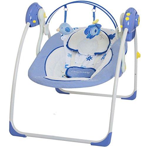 Babyschaukel DREAMDAY (vollautomatisch 230V) mit 8 Melodien und 5 Schaukelgeschwindigkeiten (BLAU)