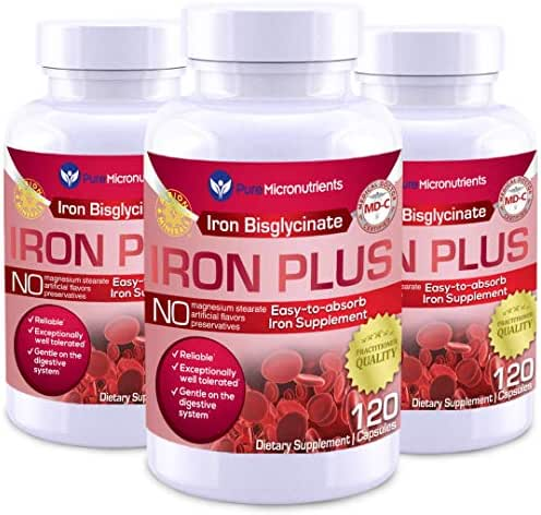 Iron Plus Supplement, Natural Ferrous Chelate, Bisglycinate 25mg + Vitamin C, B6, B12, Folic Acid, 120 Count (3-Pack) - Pure Micronutrients