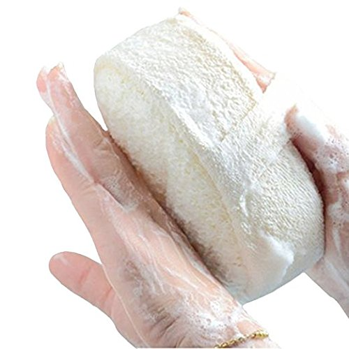 ThunderStar Natural loofah Sponge Towel Bath Cleaning Supplies Back Scrubber Two Sides-Large, Thicken, Comfortable, Held with hand, Portable