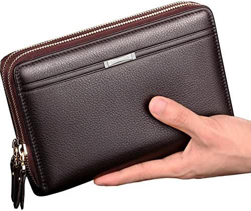 Sllybo Men Clutch Bag Business Handbag Wallet Organizer Zipper Checkbook Wrist Bag