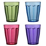 Rhapsody Premium Quality Plastic 8-ounce Juice Tumblers | set of 8 in 4 Assorted Colors